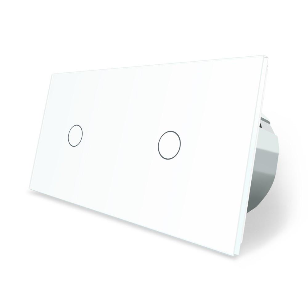 Сенсорний вимикач Livolo 2 каналу (1-1) білий скло (VL-C701/C701-11)