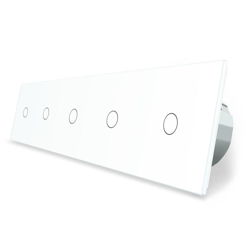 Сенсорный выключатель Livolo 5 каналов (1-1-1-1-1) белый стекло (VL-C705-11)