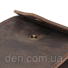 Бумажник горизонтальный в коже коричневый Crazy horse Vintage, фото 3