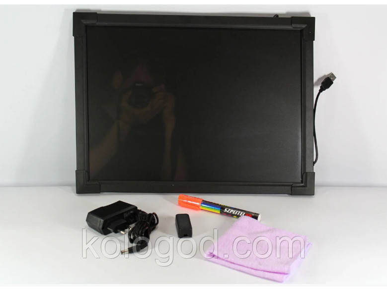 Светодиодная Led Доска Fluorescent Board 30 х 40 См С Фломастером И Салфеткой