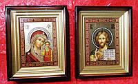 Иконы пара Спаситель+Казанская, византия в дереве+камни Сваровски, 22х27