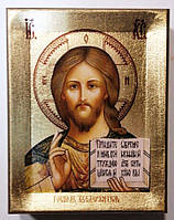 """Икона на дереве+сусальное золото """"Спаситель"""", 11х14"""