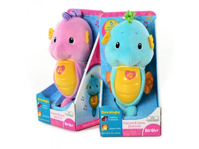 Плюшевый ночник игрушка 63512 Морской конек с колыбельными Розовый!