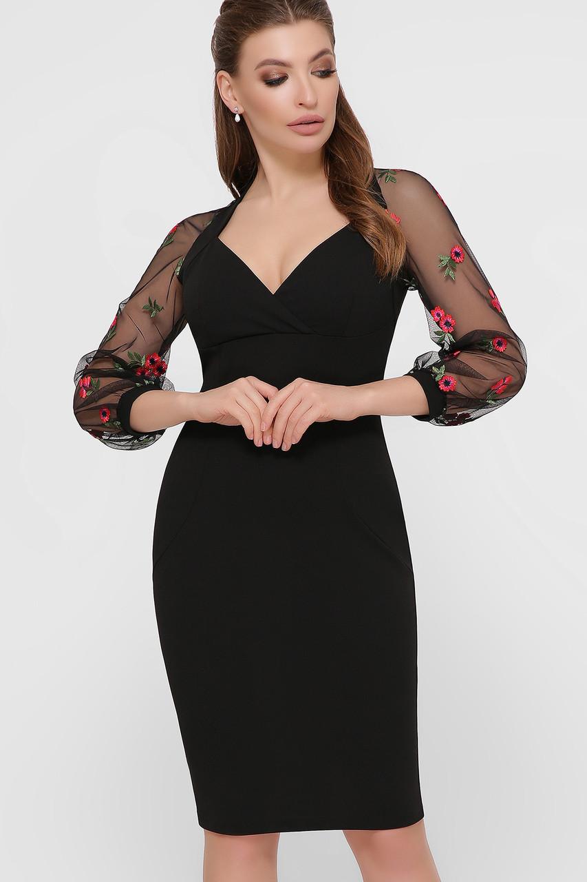 Платье коктейльное с вышивкой черное Флоренция В