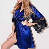 Атласный халат с кружевными рукавами, фото 3