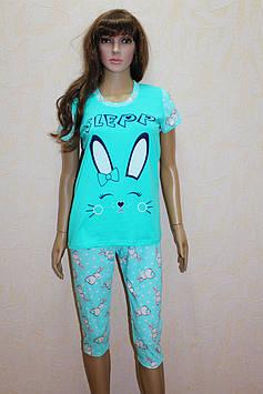 Пижама трикотажная женская с бриджами ( 44 -58 р-р )