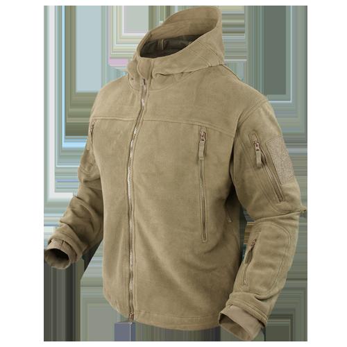 Оригинал Тактическая флисовая куртка Condor SIERRA Hooded Fleece Jacket 605 Large, Койот (Coyote)