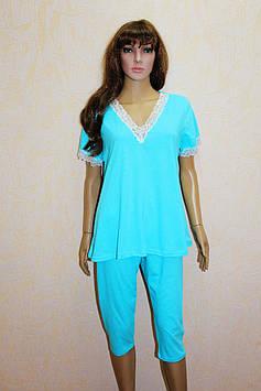 Пижама трикотажная женская с бриджами ( 48 -58 р-р )