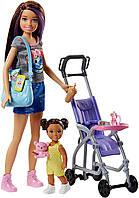 Оригинальный детский игровой набор Барби Скиппер няня Прогулка Barbie Skipper Babysitters and Stroller FJB00