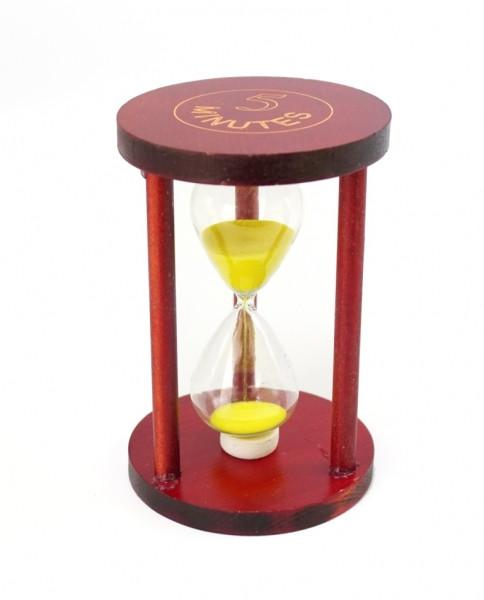 """Песочные часы """"Круг"""" стекло + тёмное дерево 5 минут Желтый песок"""