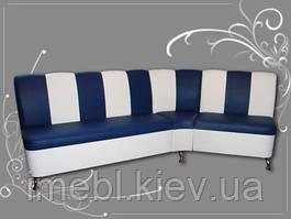 Кухонный мягкий уголок нестандартной формы (Сине-белый)