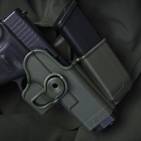 Оригинал Тактическая полимерная кобура с дополнительным магазинным подсумком для Glock 17/22/31/19/23/32/36 (также для Gen.4)  IMI-Z1023 (GK-3) Чорний