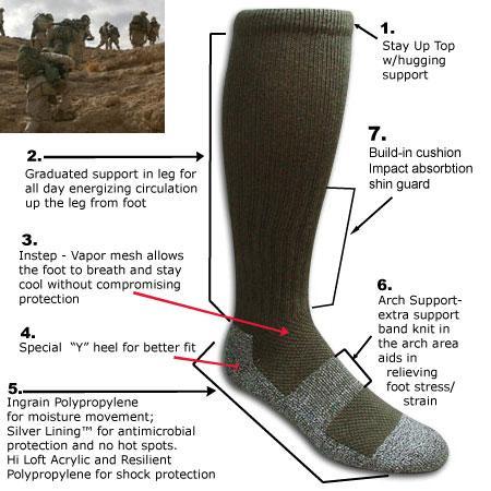 Оригинал Рейдовые носки антибактериальные Covert Threads Military Boot Socks - Rock Infiltrator Medium, Sand