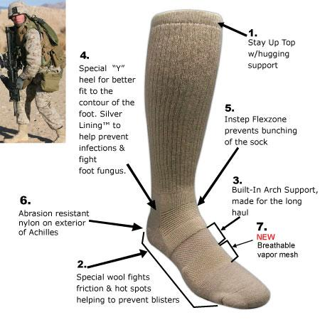 Оригинал Антибактериальные носки Covert Threads Sand Military Boot Sock Large, Чорний
