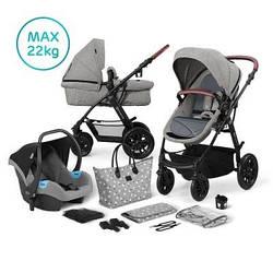 Универсальная детская коляска 3 в 1 с автокреслом и родительской сумкой Kinderkraft XMoov Grey