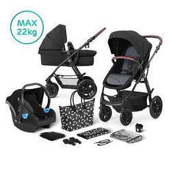 Универсальная детская коляска 3 в 1 с автокреслом и родительской сумкой Kinderkraft XMoov Black