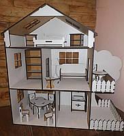 "Триповерховий будиночок для ляльки LOL з терасою та з мебля.   .Трехэтажный домик для ЛОЛ ""Тераса'' с мебелью"
