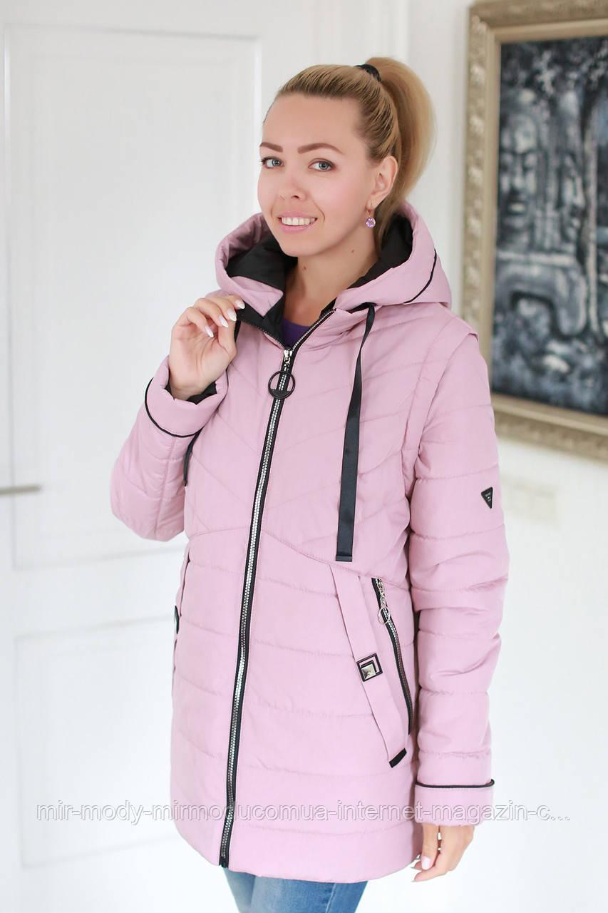 Куртка женская весенняя трансформер в жилет  c 56.58 60 размер (modnyst)