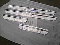 Защитные хром накладки на пороги Mitsubishi pajero sport II (митсубиси паджеро спорт 2) 2008г+