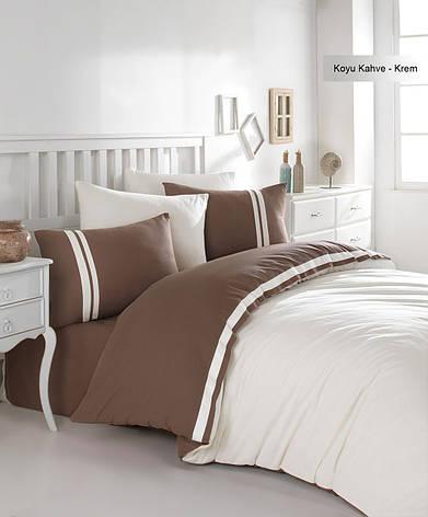 Постельное белье Ecosse Ranforce 200х220 Koyu-kahve-krem, фото 2