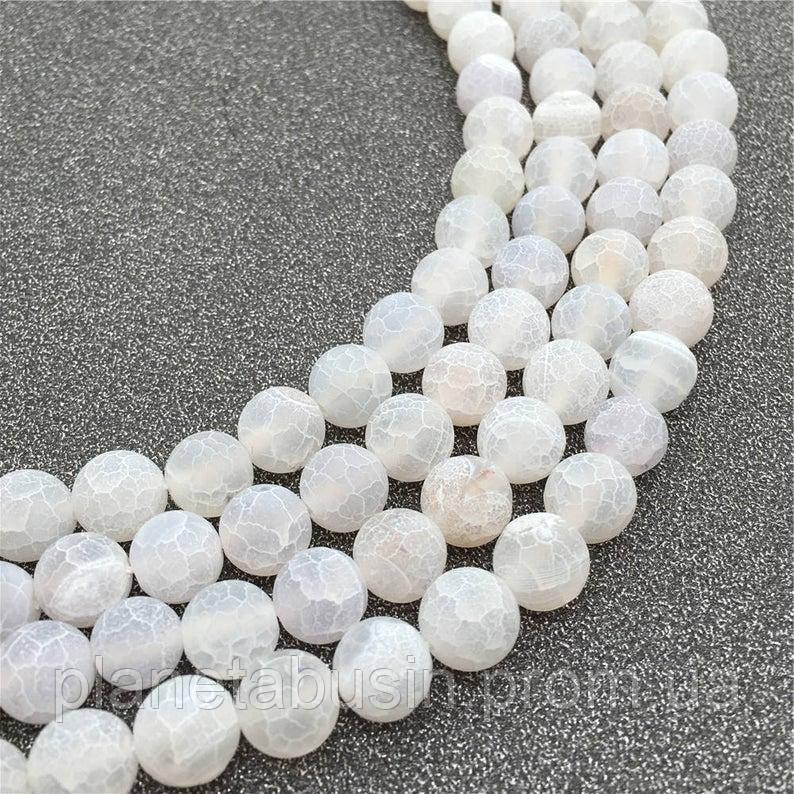 10 мм Белый морозный Агат, Форма: Шар, Отверстие: 1.5 мм, кол-во: 38-40 шт/нить