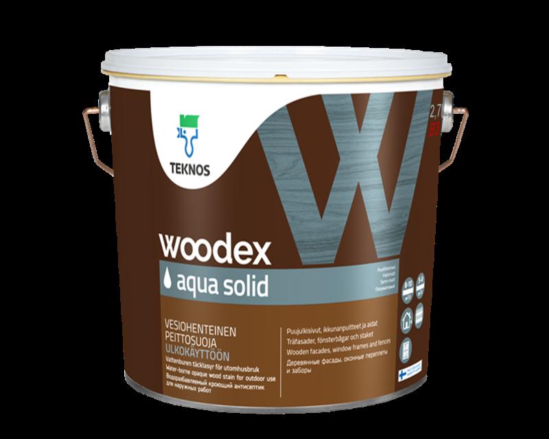 Краска антисептическая TEKNOS WOODEX AQUA SOLID для древесины транспарентная (база 3) 2,7л