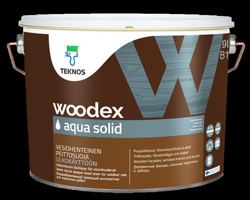 Краска антисептическая TEKNOS WOODEX AQUA SOLID для древесины белая (база 1) 9л