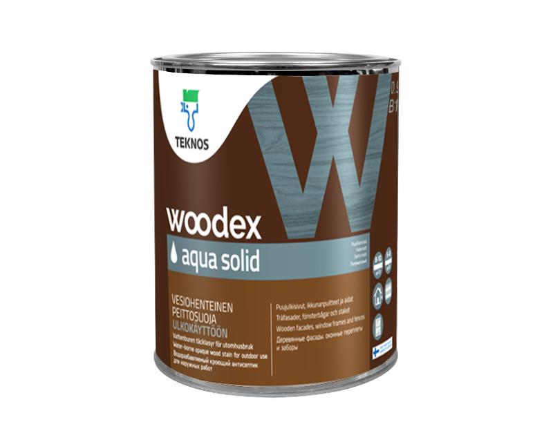 Краска антисептическая TEKNOS WOODEX AQUA SOLID для древесины белая (база 1) 0,9л