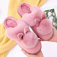 Тапочки домашние женские меховые Кролики. Теплые тапки с помпоном  и ушками, размер 37-38 (розовые)