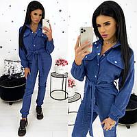Модный стильный женский комбинезон с поясом и карманами вельветовый синий 42-44 46-48