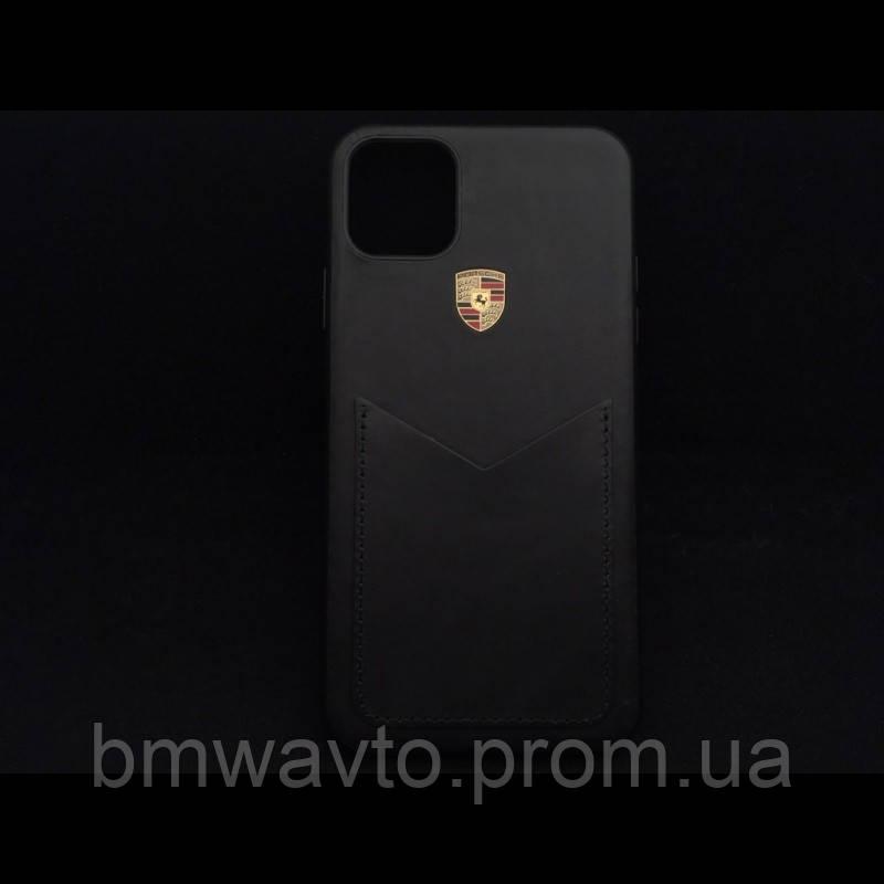 Шкіряний чохол Porsche для iPhone 11 Pro, Crest Logo