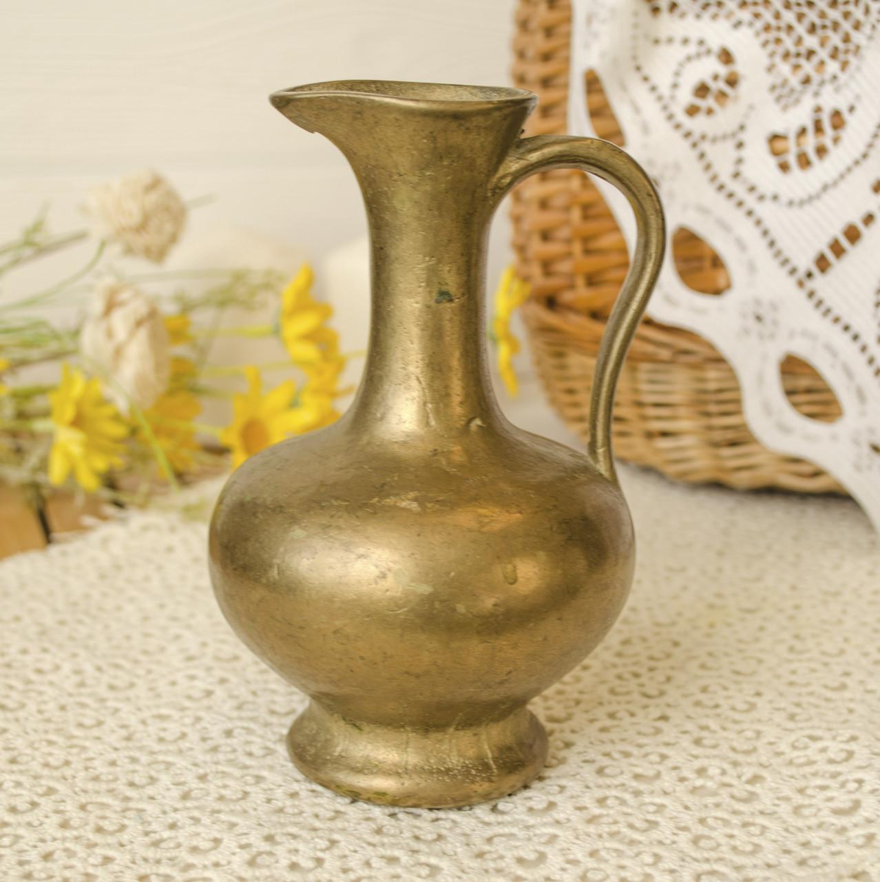 Винтажный бронзовый кувшин, кувшинчик из бронзы,  литье, Германия, 14 см
