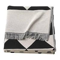 Плед IKEA JOHANNE 130x170 см Черно-серый (703.858.48)