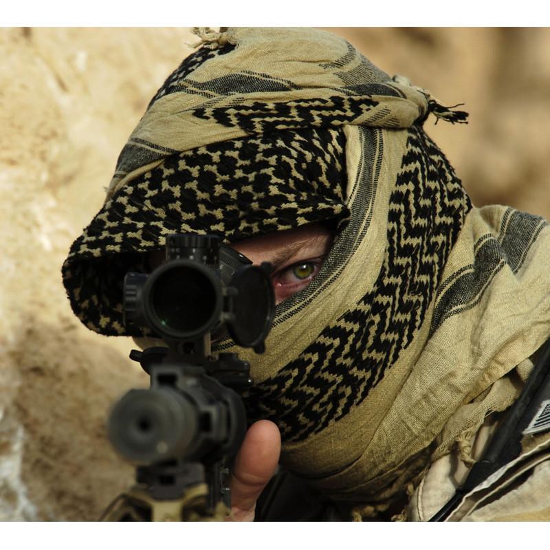Оригинал Тактический шемаг куфия шарф CAMCON Shemagh 6103 Desert Tan (пустельний)/Чорний
