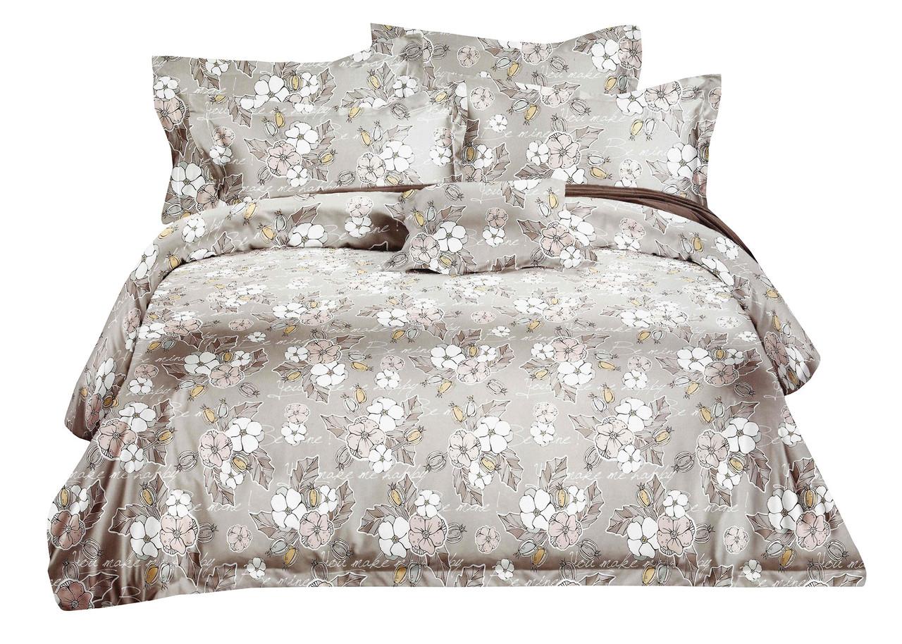 Комплект постельного белья Микроволокно HXDD-707 M&M 5843 Бежевый, Белый