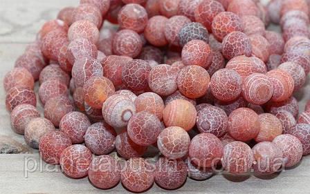 10 мм Красный морозный Агат, Форма: Шар, Отверстие: 1.5 мм, кол-во: 38-40 шт/нить, фото 2