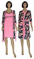 Пеньюар женский из вискозы, ночная рубашка и халат 20010 Rozalinda Premium Темно-синий с розовым