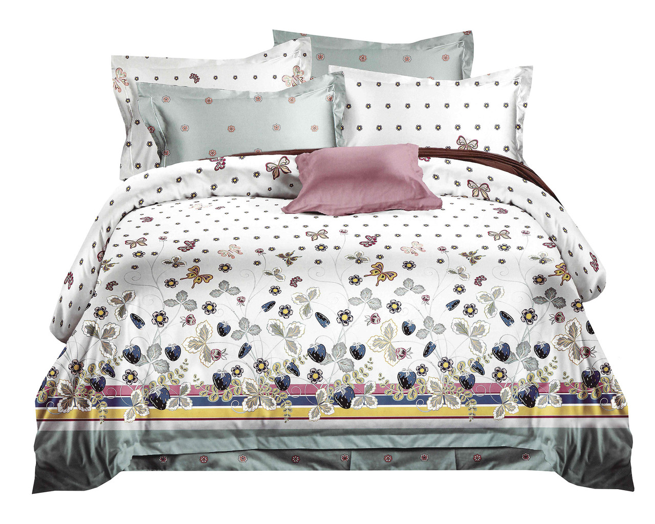 Комплект постельного белья Микроволокно HXDD-666 M&M 5867 Белый, Серый