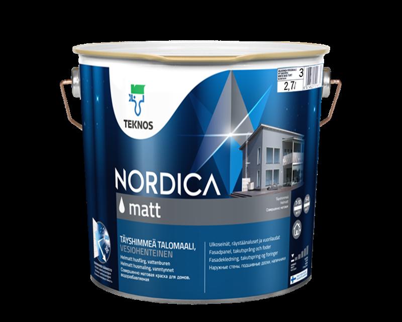 Краска акрилатная TEKNOS NORDICA MATT для древесины транспарентная (база 3) 2,7л