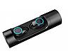 Беспроводные мини наушники Wireless Bluetooth Music Earphone K08 в кейсе с фонариком, павербанком, черные - Фото