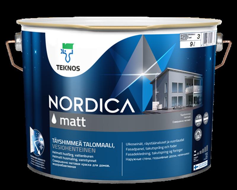 Краска акрилатная TEKNOS NORDICA MATT для древесины транспарентная (база 3) 9л