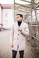 """Стильное мужское кашемировое пальто осень-весна """"Батя"""" бежевое"""