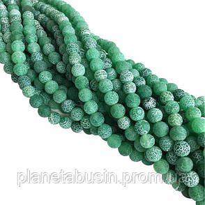10 мм Зеленый морозный Агат, Форма: Шар, Отверстие: 1.5 мм, кол-во: 38-40 шт/нить, фото 2