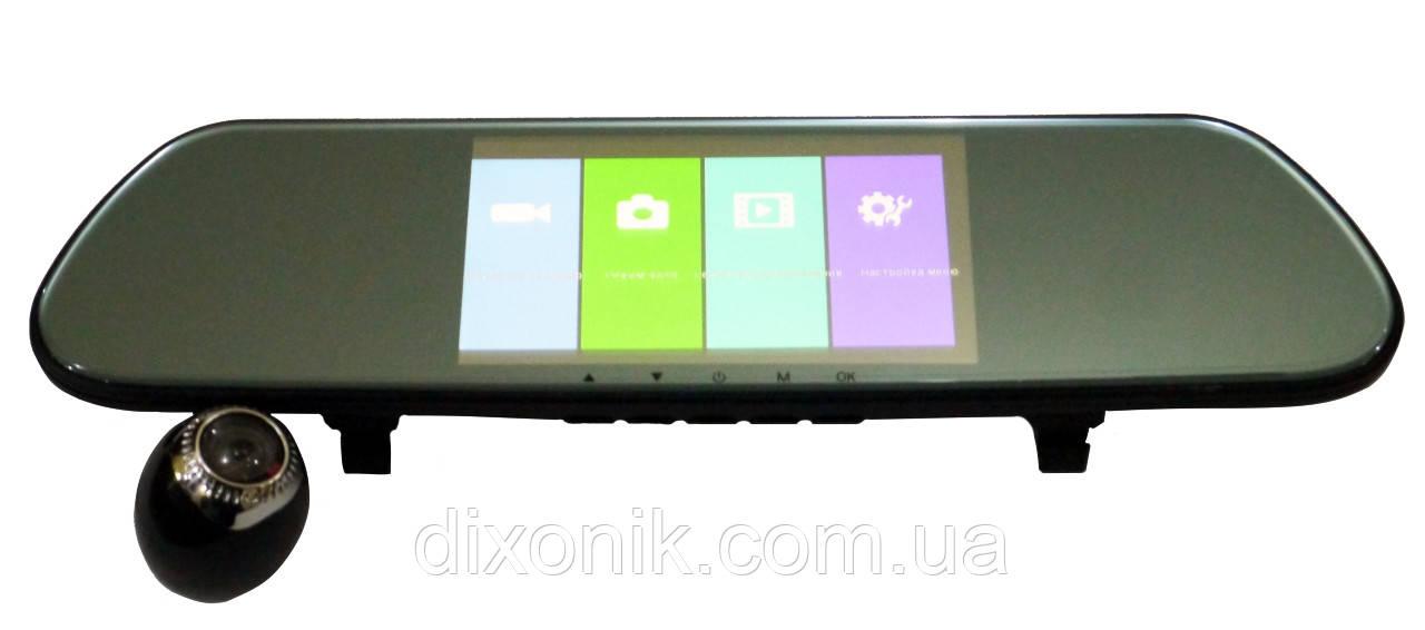 """Дзеркало відеореєстратор DVR V9TP Full HD 5"""" реєстратор з сенсорним екраном і камерою заднього виду"""