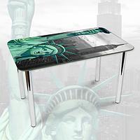 Виниловая наклейка на стол Статуя Свободы Америка декоративная пленка самоклеющаяся, серый 600*1000 мм