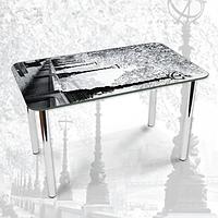 Виниловая наклейка на стол Алея с Фонарями черно-белый декоративная пленка самоклеющаяся, серый 600*1000 мм