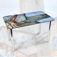 Виниловая наклейка на стол Каменная башня с часами декоративная пленка самоклеющаяся, серый 600*1000 мм