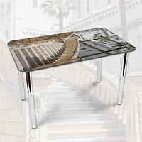 Виниловая наклейка на стол Городская лестница Ступени декоративная пленка самоклеющаяся, серый 600*1000 мм