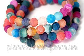 10 мм Разноцветный морозный Агат, Форма: Шар, Отверстие: 1.5 мм, кол-во: 38-40 шт/нить, фото 2