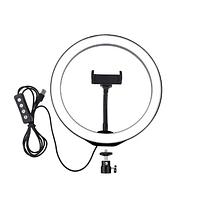Светодиодное селфи кольцо на штатив с держателем для телефона и регулятором, диаметр 26 см